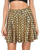 Fischschuppen Röcke Frauen Röcke Falten Druck Meerjungfrau Skalen Skater Schaukel Mädchen Rock, Gold L