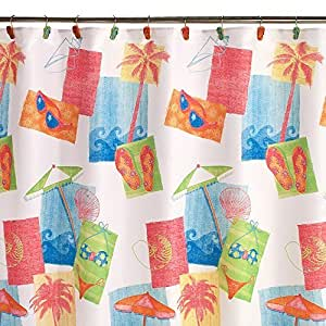 Fabric Shower Curtain By Saturday Knight Limited (100% polyester) (Miami Beach) by Saturday Knight