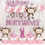 tbsh AFFE Baby Thema Geburtstags Ballon Hintergrund Dekorations Satz Partei und Geburtstags Aluminiumballon Dekoration Junge und Mädchen
