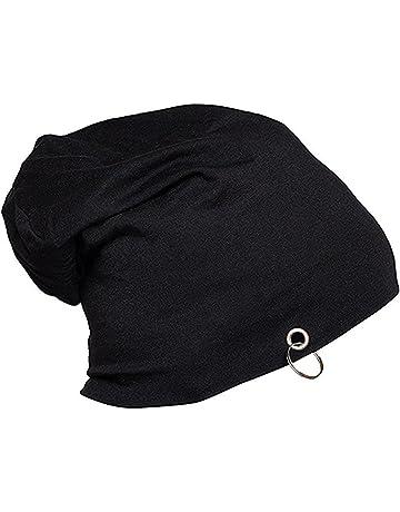 97240a06457 Gajraj Cotton Black Slouchy Beanie and Skull Cap for Summer, Winter, Autumn  & Spring