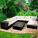 BRAST Poly Rattan Gartenmöbel Lounge Möbel Sitzgarnitur Gartengarnitur Sitzgruppe Sofa Luxus Farbe Schwarz
