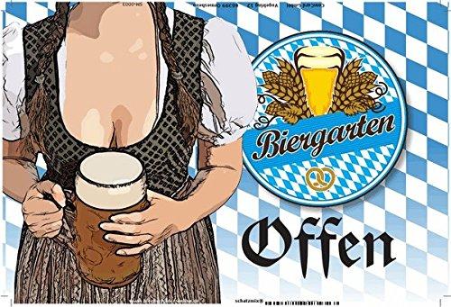 Biergarten Geöffnet, oktoberfest, bayern, Frau mit bier, blechschild, bar accessoires