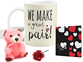iberry's Valentine Gift for Boyfriend | Girlfriend | Husband | Wife | (Teddy, Mug, Rose and Card)- Set of 4