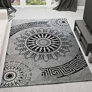 VIMODA tibet6447Salon Tapis classique, DICH tissé Motif mélangé Medallion, Top Qualité, Gris/Noir, gris/noir, 120 x 170 cm