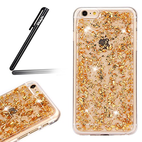 Coque Etui pour Apple iPhone 6 Plus/6S Plus, iPhone 6S Plus Coque Silicone Cerise Motif Etui, iPhone 6 Coque en Silicone Ultra-Mince Etui Housse avec Bling Diamant,iPhone 6 Plus/ 6S Plus Silicone Case Glitter-d'or