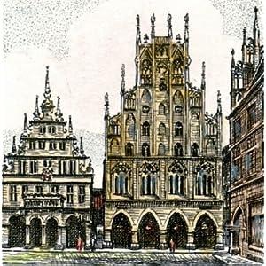 Kunstverlag Christoph Falk Handkolorierte Radierung Münster, Rathaus als Loses Blatt
