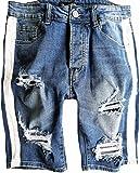 Herren Jeans Short Seiten-streifen Kurze Hose Destroyed shorts Neu Blau Denim risse Jogg Schwarz Sommer Pants Sporthose Sweat Freizeithose camouflage shirt bermuda kurz sweatpant caprihose capri cargo (33, Blau)