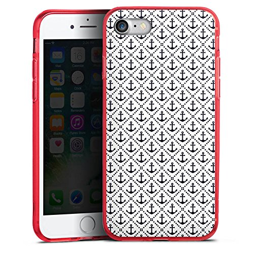 Apple iPhone 8 Silikon Hülle Case Schutzhülle Anker Anchor Muster Silikon Colour Case rot