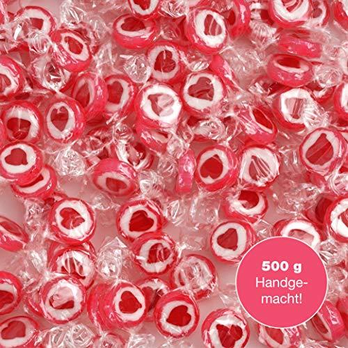 WeddingTree Herzbonbons Rot - 500 g Rocks Bonbons handgewickelte Süßigkeiten Großpackung - Tischdeko zu Hochzeit Taufe Valentinstag Muttertag Kommunion