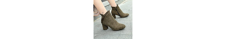 KHSKX-Plush cálida mujer otoño invierno con botas botas de ante de tacon grueso terciopelo calido hembra botas... -