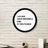 DIYthinker Ich bin der Powerful Mädchen-Kunst-Malerei Bild Photo Holz-Rund Rahmen Ausgangswand-Dekor-Geschenk Large Schwarz