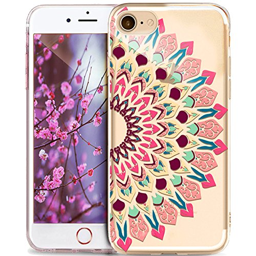 Cover iPhone 6S,Custodia iPhone 6S,Cover iPhone 6,Custodia iPhone 6,ikasus® Crystal Clear TPU con Indische Sonne Mandala del fiore per iPhone 6S / 6 Custodia Cover [Crystal TPU] [Shock-Absorption] Pro Mandala del fiore #11