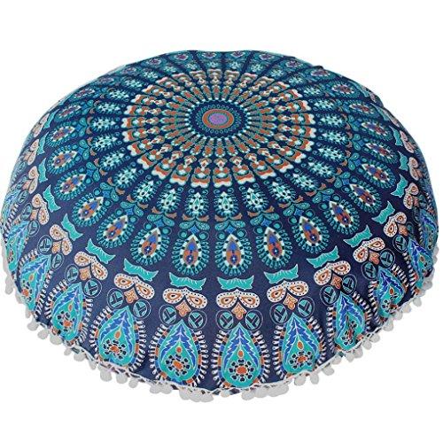 Baumwolle Runde Osmanischen (Kissenhülle Kissenbezug, Sky Kissen großen Flur, Mandala-Abdeckung Kissen der Meditation von Böhmen rund Pouf osmanischen des 80* 80cm 80*80cm B)
