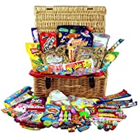 Real Wicker Retro Sweet Hamper by A Quarter Of - 36cm x 25cm Crammed with Delicious Sweets from your Childhood!