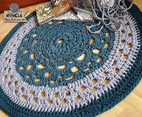 Alfombra redonda mandala de trapillo grueso verde y gris de 105 cm. en crochet