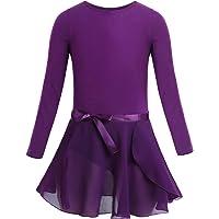 iiniim Girls Ballet Dress Long Sleeve Dance Leotard Tutu Dress Skirt Gymnastics Bodysuit Dancewear