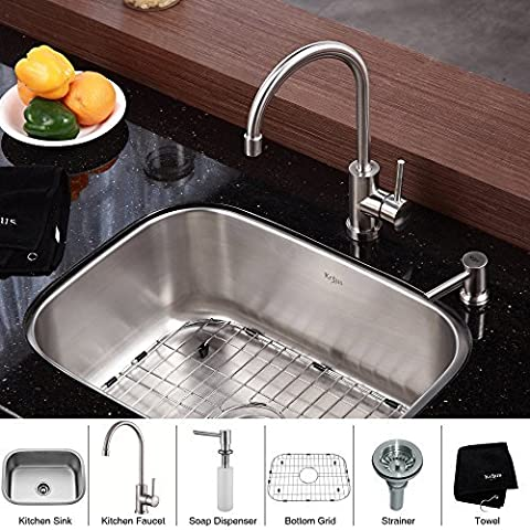 Kraus KBU12-KPF2160-SD20 23 Undermount Single Bowl Stainless Steel Kitchen Sink with Kitchen Faucet and Soap Dispenser by Kraus