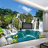 Weaeo Feng Shui Landschaft Dekoration Fernseher Sofa Hintergrund Mauer Leben Gras Benutzerdefinierte Großes Wandbild Grüne Tapete-280 X 200 Cm