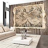 murando - Fototapete 200x140 cm - Vlies Tapete - Moderne Wanddeko - Design Tapete - Wandtapete - Wand Dekoration - Weltkarte Holz Welt Retro k-B-0005-a-a