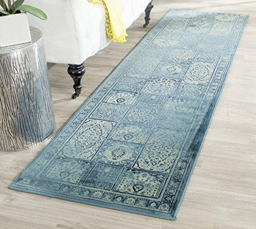 Safavieh Vintage Inspirierter Teppich, VTG127, Gewebter Weiche Viskose-Faser, Türkis Blau / Mehrfarbig, 120 x 180 cm - Viskose-teppich