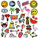 Iron On Patches, Aiduy 36pcs Embroidered Patches Iron On or Sew On Patches Applique for Jackets T-shirt Backpacks