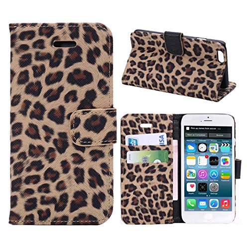 """inShang Hülle für Apple iPhone 6 iPhone 6S 4.7 inch iPhone6 iPhone6S 4.7"""", Cover Mit Modisch Klickschnalle + Errichten-in der Tasche + GRID PATTERN, Edles PU Leder Tasche Skins Etui Schutzhülle Stände leopard gold"""