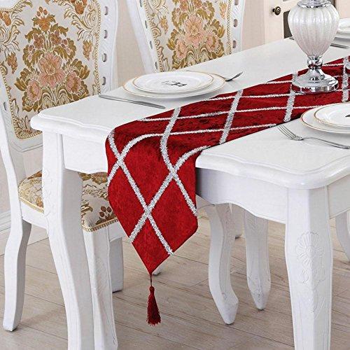 LXZ Chemins De Table, Vintage Chemin De Table À Toile Flanelle Lin Jacquard De Jute Et Burlap De Table Décoration Pour Maison Mariage , Rouge , 28X210Cm