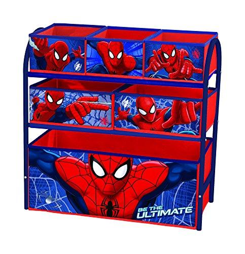 Caja de metal para juguetes con compartimentos Spiderman