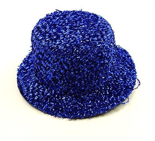 Damen Halloween Karneval mini Hüte glitzer Hut Fasching Halloween Party Zylinder 5x14cm (blau) (Glitzer Fedora Hüte)