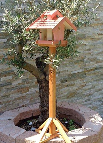 vogelhaus mit ständer, BEL-X-VOVIL4-MS-rot002 Robustes, stabiles PREMIUM Vogelhaus KOMPLETT mit Ständer wetterfest lasiert, FUTTERHAUS für Vögel, WINTERFEST - MIT FUTTERSCHACHT Futtervorrat, Vogelfutter-Station Farbe Rot lachsrot behandelt , weinrot hellrot knallrot, MIT TIEFEM WETTERSCHUTZ-DACH für trockenes Futter, Schreinerarbeit aus Vollholz
