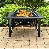 Centurion Supports KOJIN Multi-Functional Elegant Black Square Outdoor Garden & Patio Luxury Heater Fire Pit Brazier