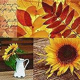 20 Servietten Wundervolle Herbsteindrücke/Sonnenblume / Herbst 33x33cm