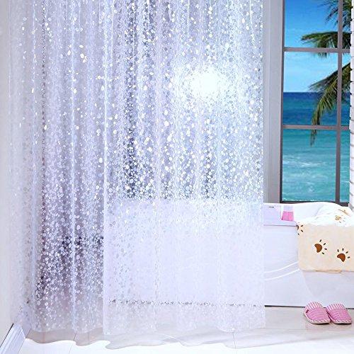 Duschvorhang Anti-Schimmel & Wasserdicht Halbtransparent Kieselsteine PEVA Duschvorhang für Badezimmer mit Haken 240x200cm (Kieselsteine Duschvorhang)