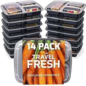 Premium 3-compartment Meal Prep Containers | mantenere il cibo fresco per più a lungo senza BPA, impilabile, microonde, lavabile in lavastoviglie pranzo con bonus Recipe abbonamento 14 Pack