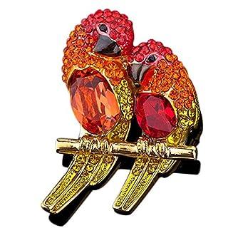 Azo Bird Brooch | Macaw Red Brooch Pin - Stellux Austrian Crystals