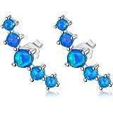 LONAGO Aretes de ópalo blanco azul con diseño de abeja de plata de ley 925 para mujer