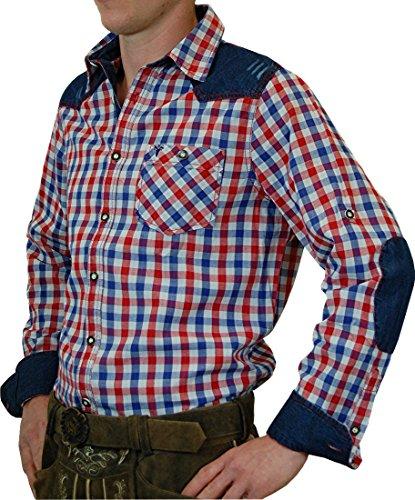 Freizeit und Trachtenhemd Franz in Bicolor mit Jeans in verschiedenen Farben, Größen:XXL;Farben:royal - rot