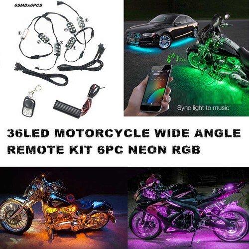 Auto Motorrad Unterbodenbeleuchtung 6 Streifen 18-farbige RGB LED Beleuchtung sundgesteuerte Neonlicht-Kit mit 1 Fernbedienung (Motorrad Led)