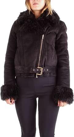 PATRIZIA PEPE Giubbotto Coat Donna Nero 2L0799/A2XK Pelliccia Stretch