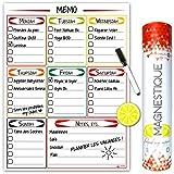 Tableau Magnétique de Frigo Familial - Calendrier Aimanté de Cuisine, Qualité Extra - Parfait pour Organiser vos Repas, Listes - Grand Mémo avec Marqueur et Effaceur - Planning Semainier Effaçable