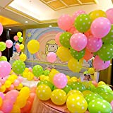 AMFIN Polka Dot Balloons, 12-Inch (Pink, Green and Yellow) - Pack of 50