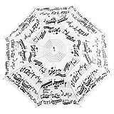 Parapluie Adulte Blanc - Motif Partition de Piano - Manuel - Manche en Bois