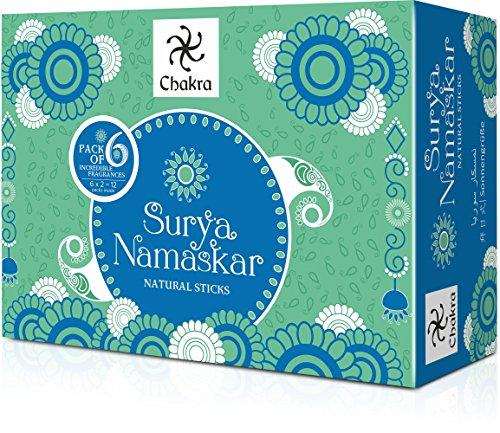 Chakra Surya Namaskar Yoga Natural and Hand Made Incense Sticks from Aroma  - 6 Fragrances Dedicated to 12 Asanas - Premium 120 Incense Sticks Made