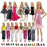 Miunana 20 Pezzi: 10 PCS Abiti Vestiti Gonne Camiciette Alla Moda Fashion + 10 PCS Scarpe Selezionati A Caso Per Barbie Dolls, Holiday Doll Ed Altre Bambole