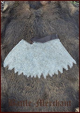 bmsz Chaînes d'Armure galvanisée avec, unvernietet, id 8mm médiéval viking chaîne en cuir tressé LARP Protection de la nuque et des épaules