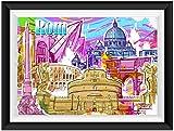 Rom Italien Italy Streetart Poster Plakat für das Wohnzimmer Kunstdruck Bild - ungerahmt - INDIVIDUELLE GRÖßE tolle Geschenkidee mit Flair - Fine Art Print Leinwanddruck ab DIN A4 - 80x120 cm XXL