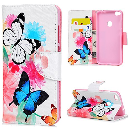 "Price comparison product image Huawei P8 Lite (2017) / Honor 8 Lite Case MAXFE.CO 5.2 Inch Colorful Butterly Pattern Painted PU Leather Case Sturdy Folio Flip Cover With Inlaid Soft TPU Silicone Tray Magnetic Closure In Front Credit Cards Holder Cash Slot Built Kickstand Notebook Design Protective Armor Magnetic Wallet Stand Flip Case For 5.2"" Huawei P8 Lite (2017) And Honor 8 Lite"