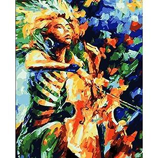 JAGENIE Abstract Girl Play Violoncelle sans cadre Digital Peinture à l'huile DIY Peinture par numéros Cadeau 40*50cm