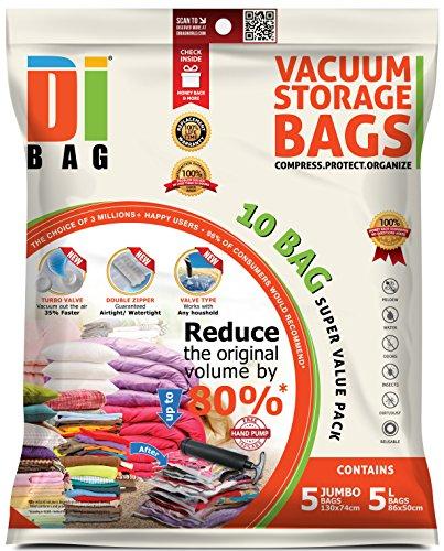 DIBAG - Vakuumbeutel - Vakuum Aufbewahrungsbeutel - 10 Vakuum Kleiderbeutel - Beutelgröße: Jumbo & Groß - Kompressionsbeutel zur Aufbewahrung von Kleidung, Bettdecken, Reise, Bettwäsche, Kissen (Kissen Paket)