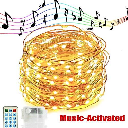 Kupferdraht-Lichterketten, 10M 100LED Musik Lichterketten Kupferdraht LED-Leuchten mit Sound Aktiviert Musik-Sync-Licht Wasserdicht 12 Modi Dekorative Batterie